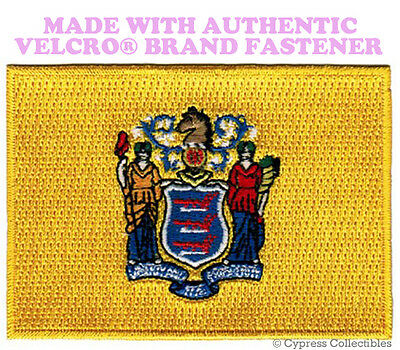 NEW JERSEY STATE FLAG PATCH NJ EMBROIDERED APPLIQUE w// VELCRO® Brand Fastener