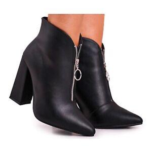 FG1 Stivali da donna con cerniera sul tallone sul davanti Nero Save Me