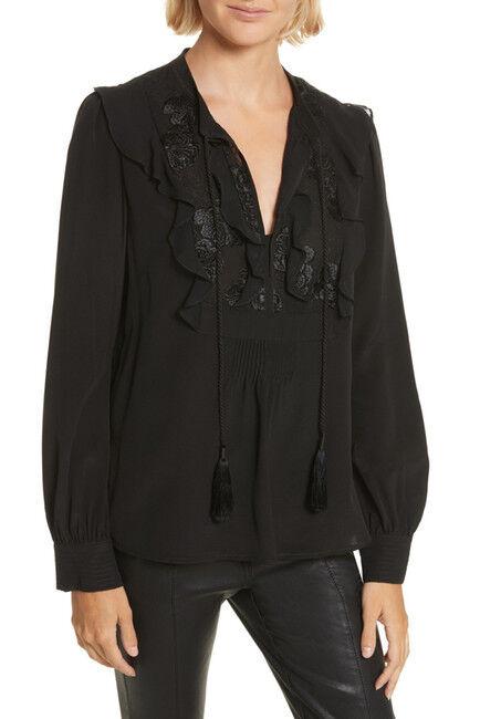 NEW A.L.C. Blyth Silk Top in schwarz - Größe 6  T130