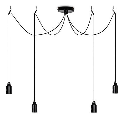 Modern Black 4 Way Suspended Ceiling Pendant Light Lampholder Cluster Fitting