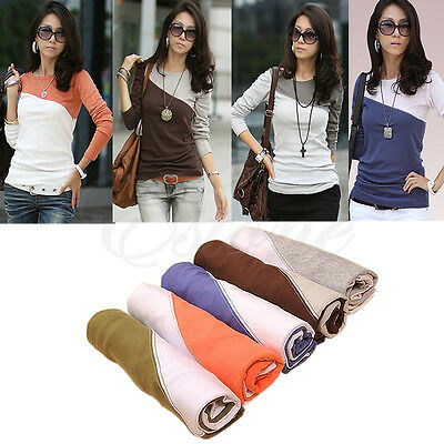 2014 Women Stitching Bottom Shirt Long Sleeved Lady T-shirts Blouse Top 5 Colors