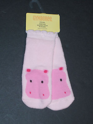 NWT Gymboree Jungle Gym Pink Hippo Terry Socks 6-12 Months