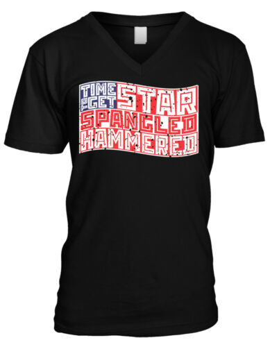 Time To Get Star Spangled Hammered 4th of July Drinking Flag Mens V-neck T-shirt