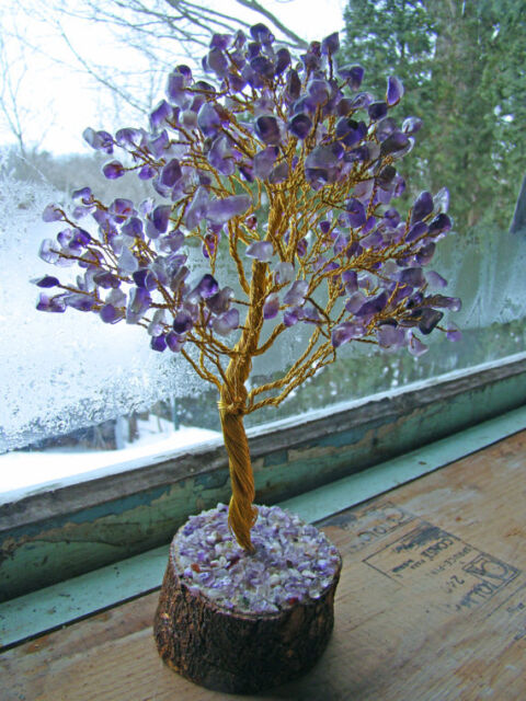 Amethyst Stone Spiritual Reiki Tree Feng Shui Vastu Crystal Home Décor