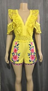 BOUTIQUE-YELLOW-ROSE-LACE-RUFFLE-COLD-SHOULDER-ROMPER