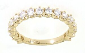 Solid-14K-Yellow-Gold-0-98CT-Real-Natural-Thin-Diamond-Band-Ebay-Fine-Jewelry