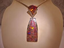 LARGE Long BLACK RED Fire Opal UNISEX PENDANT $280 Sterling Silver 925