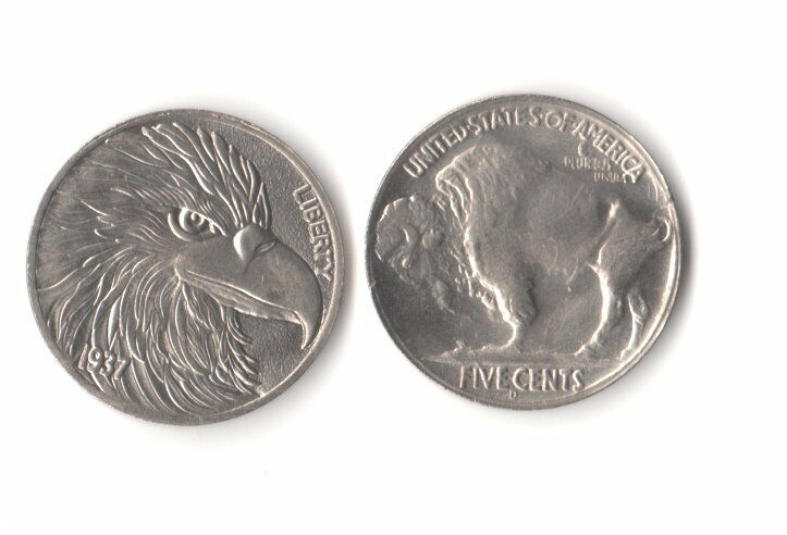 1937 Novelty Buffalo Nickel Bald Eagle Fantasy Coin Hobo Like