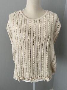 Women's Lucky Brand Sweater Vest Knit Tassel Cream Size Medium