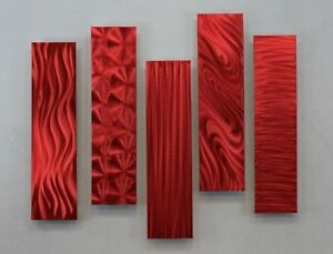 Statements2000 3D Metal Art Abstract Wall Sculpture Jon Allen 5 Easy Pieces Red