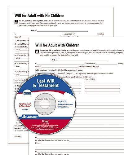 Adams Last Legal Forms Kits Will and Testament, Forms and Instructions, Includes