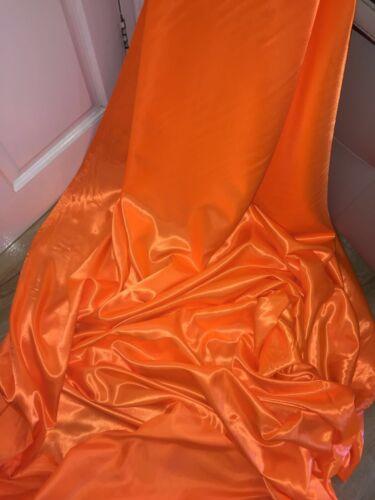 "3 mètres orange néon satin doublure tissu.. 58/"" large"