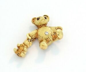 Tiffany-amp-Co-Vintage-Diamond-Sapphire-18k-Gold-Mother-amp-Baby-Bear-Brooch