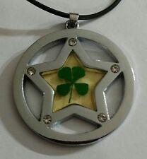 NEW lucky 4 leaf clover rhinestone star necklace