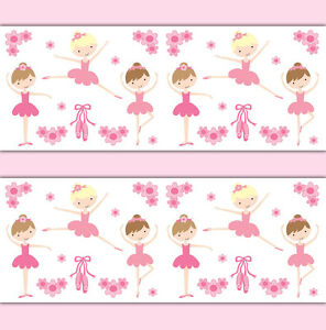 ballerina wallpaper border wall art decal baby girl ballet dance