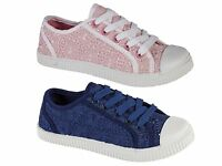 Girls Kids Canvas Pumps Lace Up Plimsoles Plimsolls Trainers Shoes Size UK 10-2