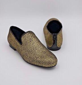 3f07d726836 NIB Jimmy Choo Sloane Gold Metallic Pony Fabric Slippers Slip-On ...