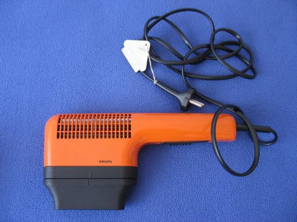 WunderschöNen Krups, 70er Orange Haartrockner Typ 408 800 Watt Mit Düsenaufsatz! - Gebraucht