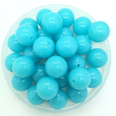 New 10mm 30Pcs Sly Blue Acrylic Round Beads Bubblegum For Jewelry Pendant Making