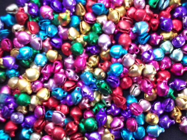 100 x  Mini Jingle Bells Multi coloured 6mm x 8mm