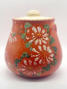 Antique-Ransburg-Pottery-Hand-Painted-Orange-Floral-Bean-Pot-Cookie-Jar-8-1-2-H