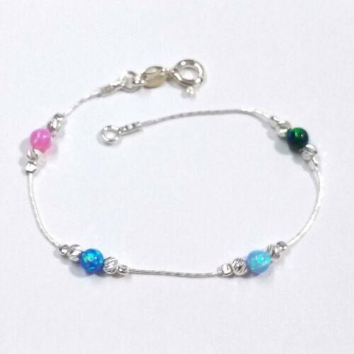 Laser Cut Beads /& Multi-Color 4mm OPAL Beads BRACELET 925 Sterling Silver Chain