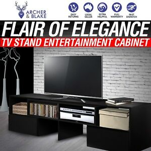 3fb90c676121 High Gloss Black TV Stand Entertainment Unit Cabinet Lowline with 2 ...