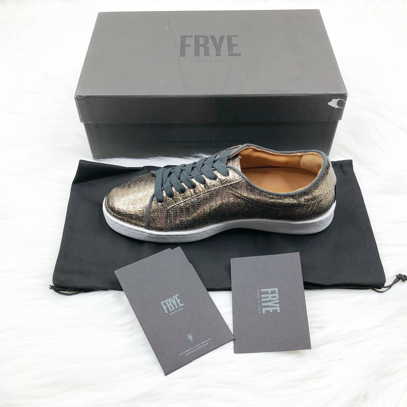 Frye Sneaker Alexis Low Lace Lace Lace Metallic  Italian Leather Snake Woman 6.5 New 7462c2