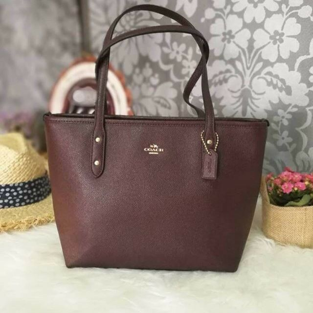 61af903d34512 Coach F22967 Mini City Zip Tote in Crossgrain Leather Handbag Oxblood 1 for  sale online