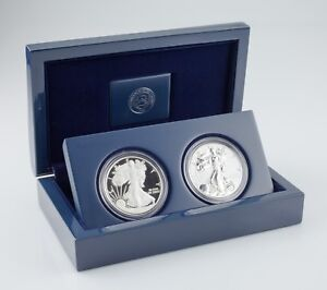 2012-S-American-Eagle-West-Point-Two-Coin-Silver-Set-w-Box-CoA-and-Case
