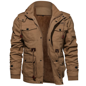 New-Fashion-Mens-Winter-Fleece-Warm-Hooded-Multi-Pockets-Casual-Cotton-Jacket-YJ