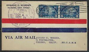 US 1926 PAIR Sc 616 HUGE NOT WALLOON TIED LOS ANGELOS FIRST FLIGHT