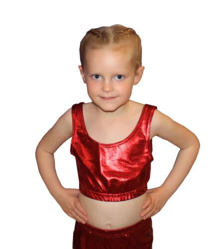 GIRLS SHINY WET LOOK CROP TOP METALLIC HOT PANTS GYMNASTIC SCHOOL DANCE WEAR SET