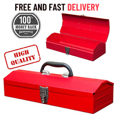 Hip Roof Style Portable Steel Tool Box With Metal Latch Closure Red 16inch Us