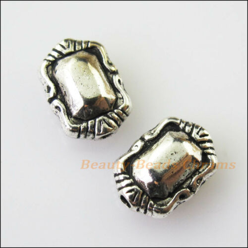 20Pcs Antiqued Silver Tone Oval Flower Smooth Spacer Beads Charms 7x10mm