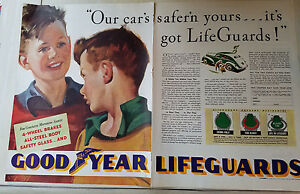 1939-Vintage-Goodyear-Lifeguards-Tires-Good-Year-Two-Page-Original-Color-Ad