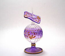 Egyptian Perfume Bottles-Glass Art- Purple Isis Flower -Hand painted  6-517-14