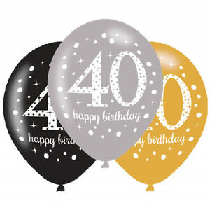 6 X 40th Birthday Balloons Black Silver Gold Party Decorations Age