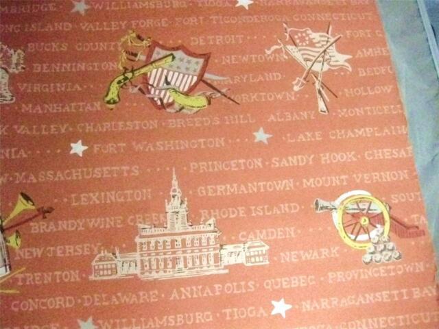 Vintage Wallpaper Roll Early American Revolution 1776