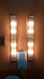 Paire-Ancien-Old-Art-Deco-Laiton-amp-Glass-Rod-Lumiere-Appliques-murale-Lampe
