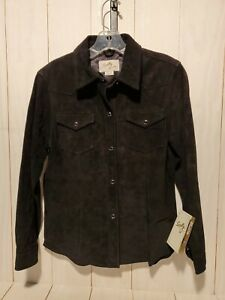 Scully-Womens-Western-Suede-Leather-Shirt-Medium-Black-Pearl-Snap-NEW-with-Tag