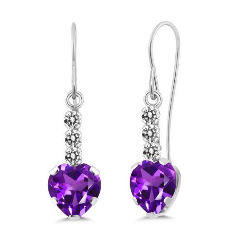1.68 Ct Heart Shape Purple Amethyst White Diamond 14K White Gold Earrings