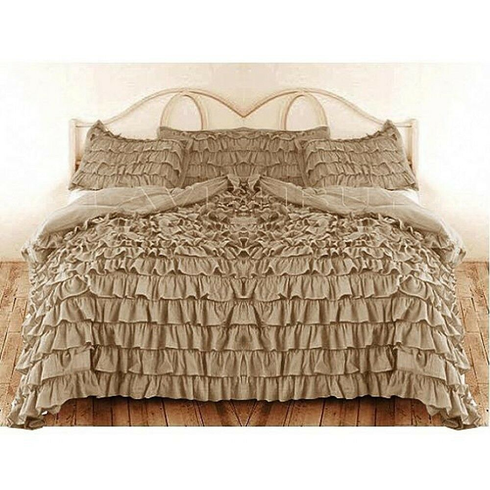 TAUPE SOLID WATERFALL RUFFLED DUVET BED COVER 3PC 5PC SET 1000TC CHOOSE SIZE