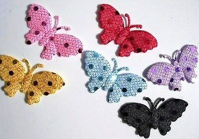 """60 Fancy Big Wing Butterfly 2"""" Sequin Fabric Applique/trim/shiny/sewing/bow L57"""