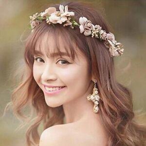 Women Flower Tiara Floral Hairband Headband Crown Party Bride Wedding Beach Gift