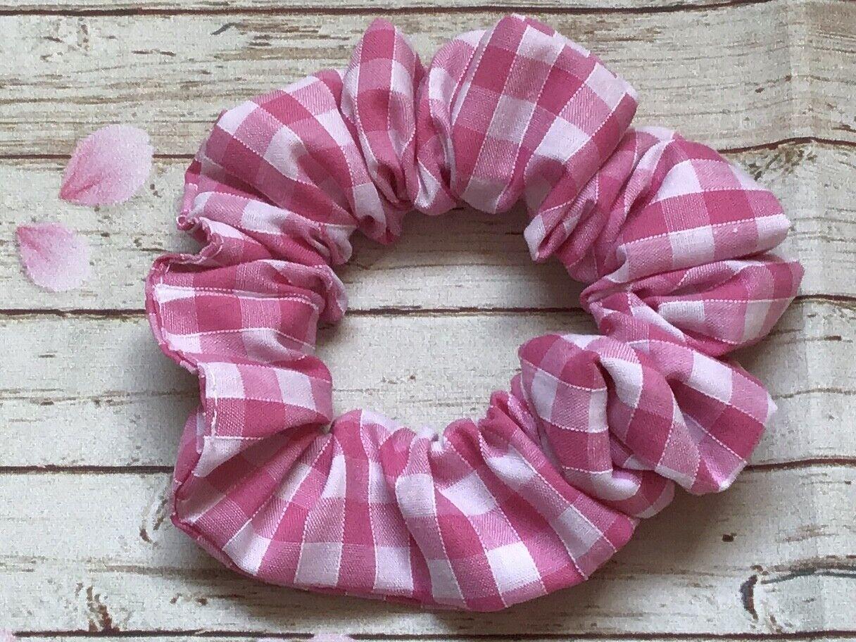Pink white gingham check fabric hair scrunchie ponytail bun band stretch elastic