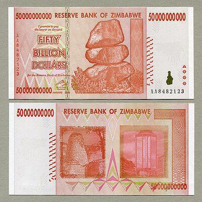 2008 50,000,000,000 dollars 50 billion P-87 UNC Zimbabwe