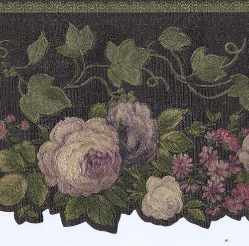Cream Flowers with Leaves /& Ivy Wallpaper Border 62740DC Satin Purple Burgundy