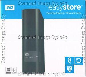 Details about WD EASYSTORE 8TB EXTERNAL USB 3 0 DESKTOP HARD DRIVE  WDBCKA0080HBK-NESN SEALED!!