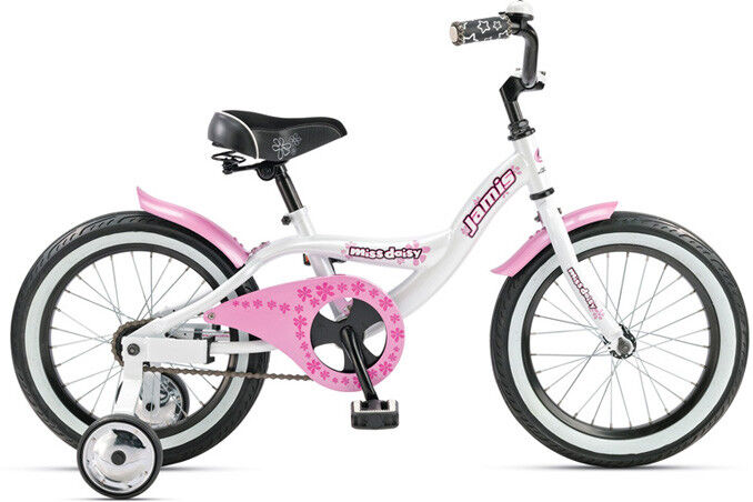 Jamis Girl's Bicycle. Miss Daisy 16 ,White and Pink w  Removable Training Wheels